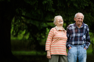 Image of elderly couple happily in love